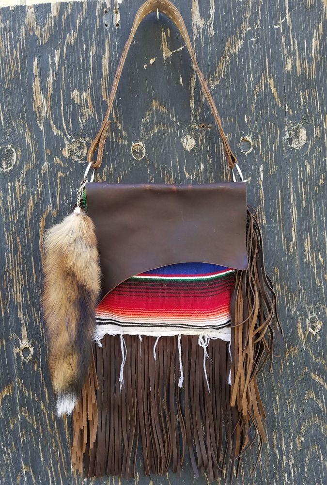 Western Serape Distressed Leather Handbag Purse w/ Fringe & Fox Tail Hippie SS1  | eBay