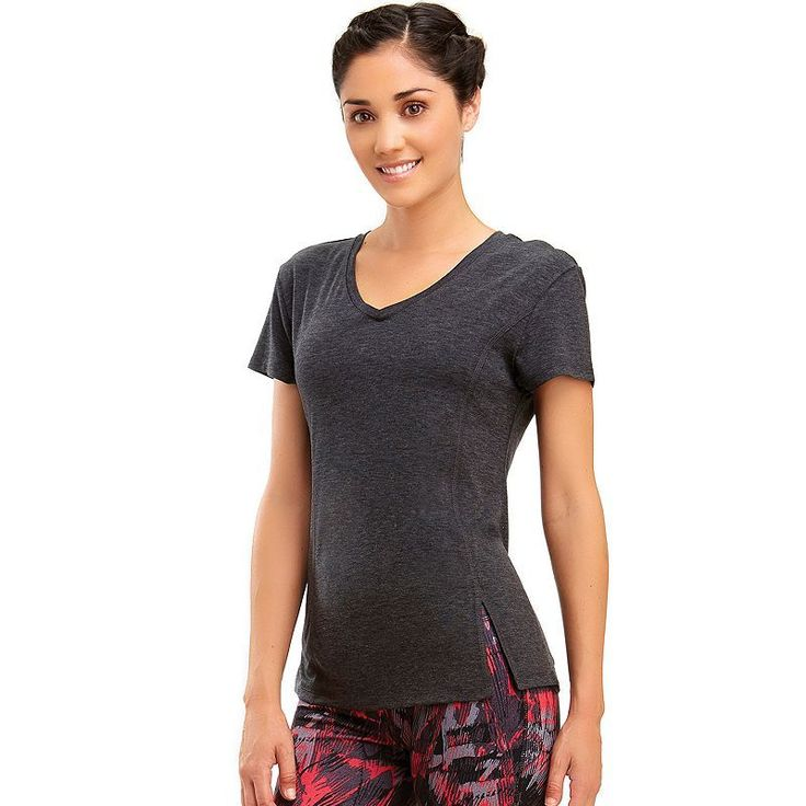 Women's Marika V-Neck Vented Workout Tee, Size: Medium, Oxford