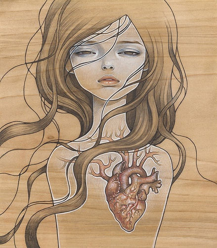 The current arist featured at Flipnotics coffee (Austin) has work that looks questionably close to this artists- Drive by there and judge for yourself ::eyebrow raised:: Pop Surrealism - Audrey Kawasaki