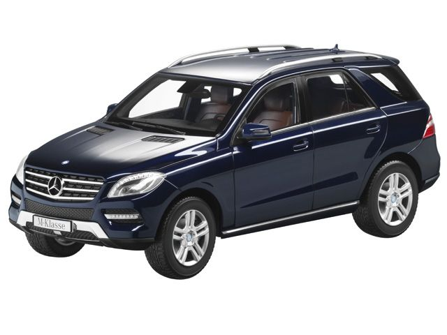 M-Class tanzanite blue - B66960065 Sales text - Retail: Β Β Β  Scale 1:18 model of M-Class. Various genuine metallic paintwork colours.  Diecast metal. Detailed replica based on original CAD data. High-quality printed interior.  Flock-lined interior and load compartment. Doors, load compartment and bonnet open.  In Mercedes-Benz designer packaging.