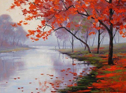 Осенний пейзаж маслом МК Татьяна Зубова