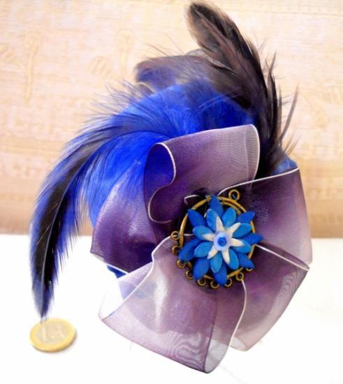 diadema tocado azul marino  acero lacado,acero,plumas costura,modelado