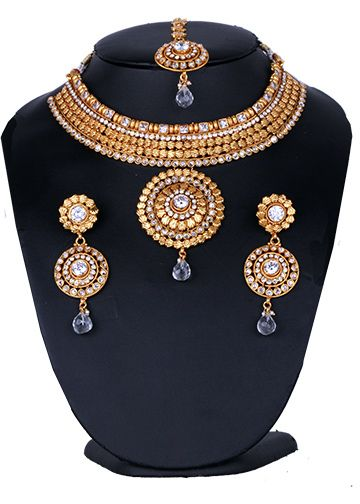 Beautiful bridal fashion costume jewelry set in golden background with white stones-BRIDALPLK15