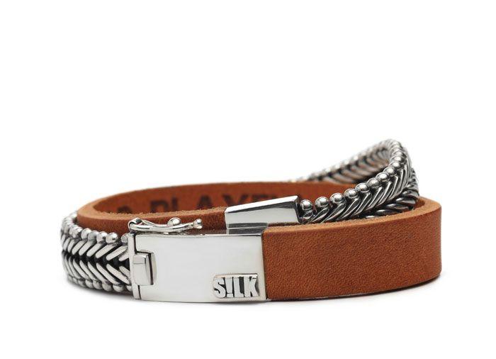 Silver bracelet Ganesha 214 cognac SILK Jewellery