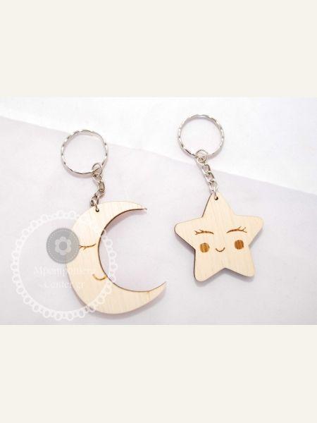 Μπρελόκ ξύλινο αστεράκι - φεγγαράκι twingle twingle little star