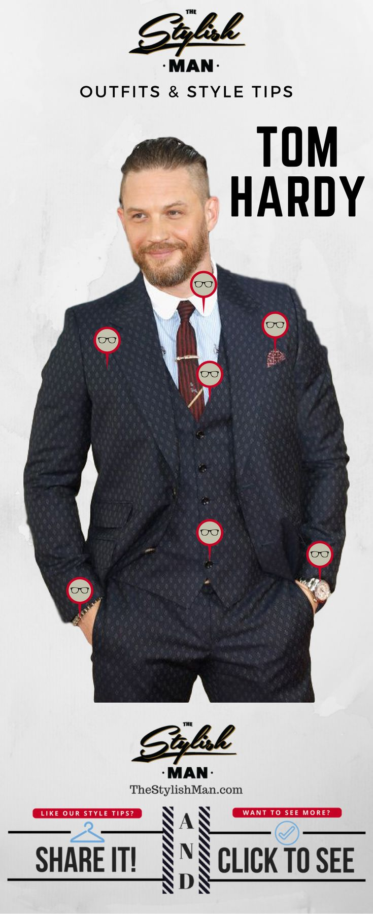 Excuse for a Tom Hardy pic  Too much going on but nice pattern & club collar is interesting.  Outfits and Style Tips: Tom Hardy Three Piece Suit - TheStylishMan.com