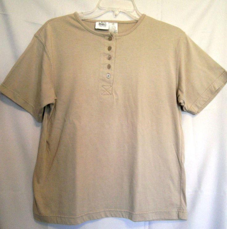 Jason Maxwell Lt. Brown Short Sleeve Top Size Small Cotton Blend Bound Neck #JasonMaxwell #PoloShirt #Career