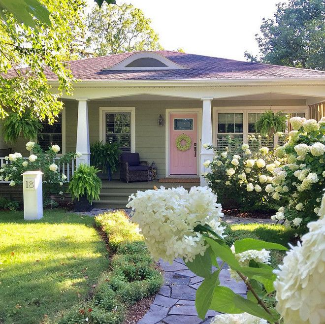 Exterior is James Hardie Siding – Heathered Moss JH50-20. See it on Home Bunch blog