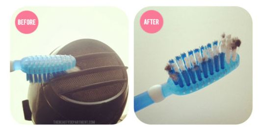 Bonus! Use an old toothbrush to clean out your clogged hairdryer. | 44 Lazy Girl Beauty Hacks To Try Right Now