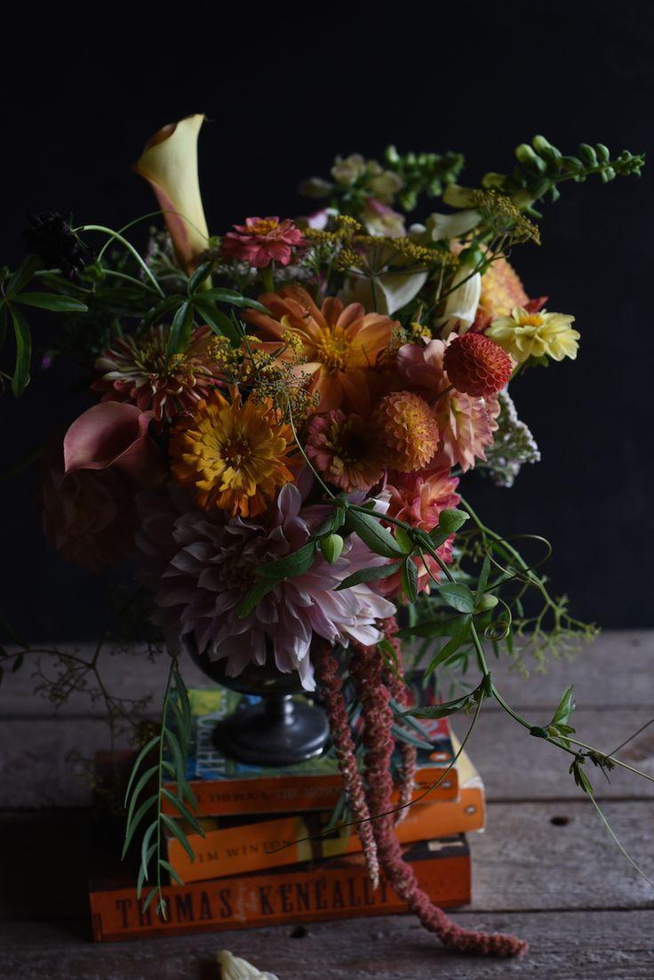 autumn colours, February Flowers, centrepiece, Dahlias, Zinnias, Calla Lilies, Amaranth, burnt orange, foxglove, vines