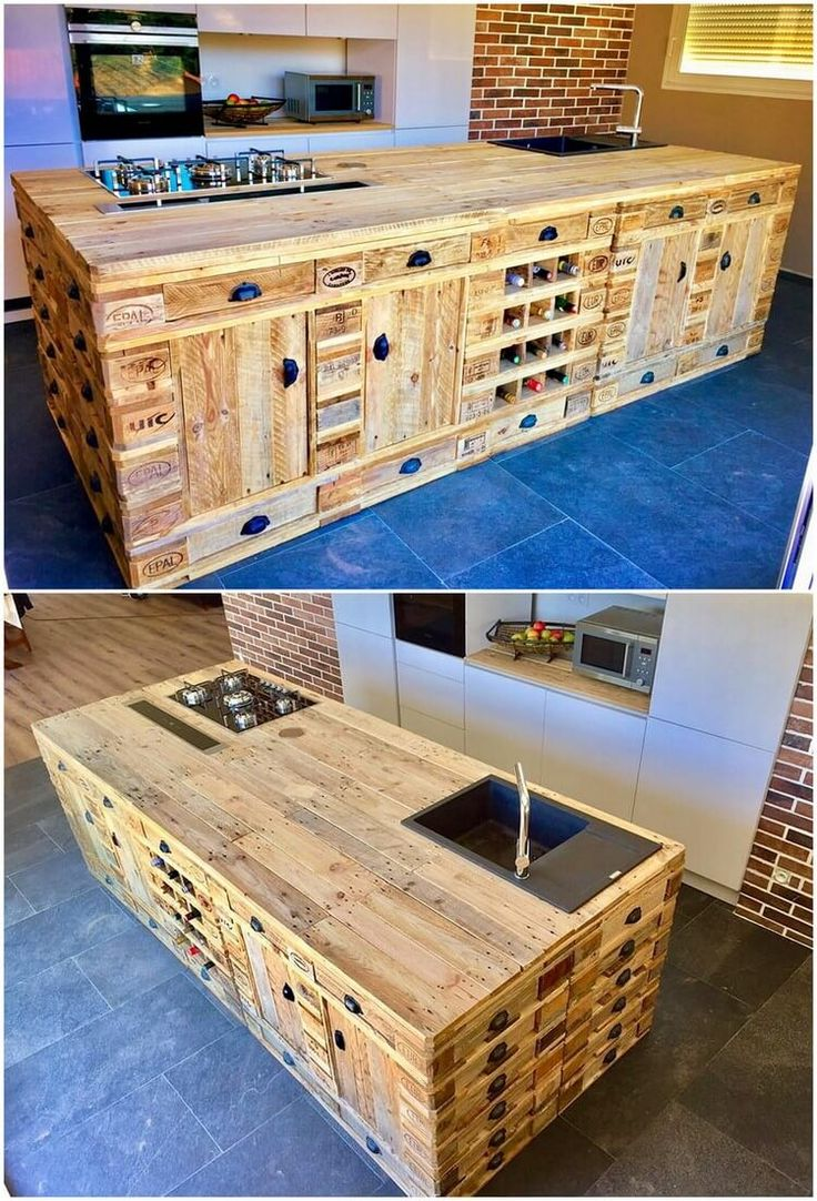 Best 25 pallet island ideas on pinterest pallet kitchen for Make a kitchen island out of pallets