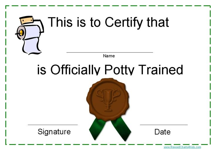 Potty training certificate