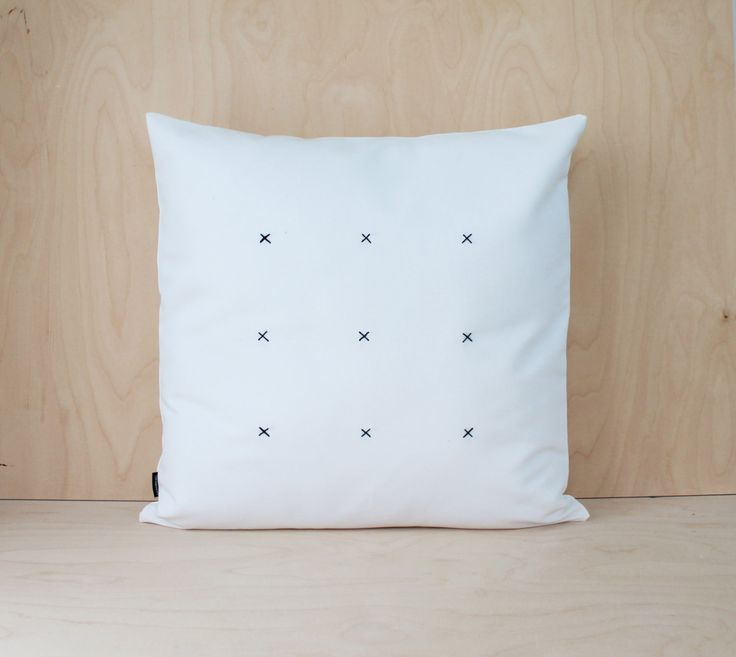 Minimal White Canvas Pillowcase, Embroidered Black and White Canvas Cushion, Decorative Pillowcase, X stitch Pillow Cover, Canvas Pillow by DesignSandberg on Etsy