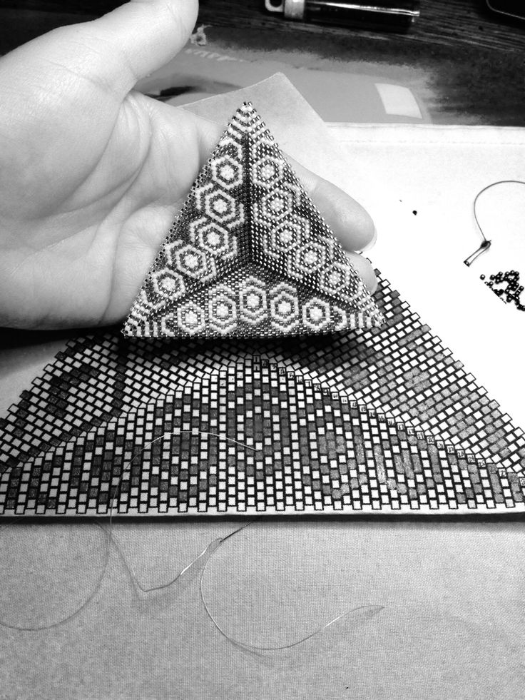 "Triangle Peyote ""Lady Katie"" Pattern, Handmade by PCV, Pattern Looks Really Awesome In Black & White!!!"