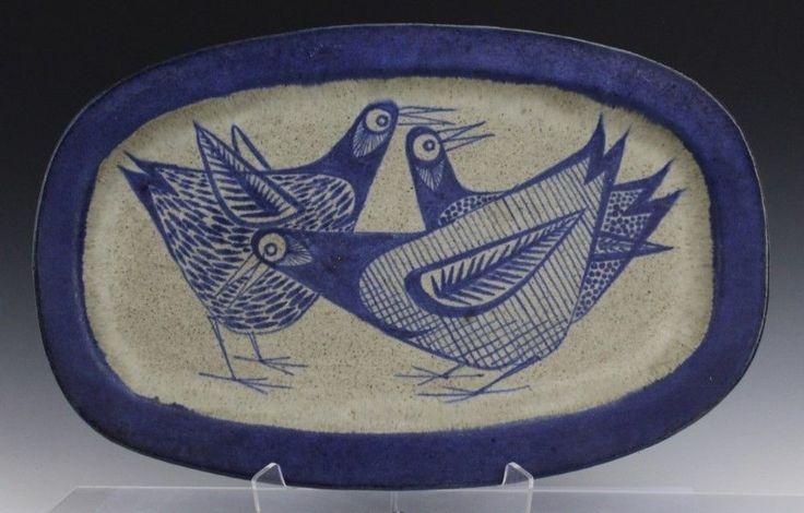 Mid Century Modern Denmark Blue Bird Studio Art Pottery Wall Charger Plate LOP
