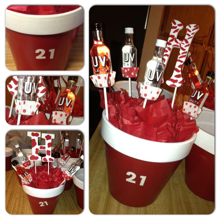 Cup Themed 21st Birthday Centerpieces with initials.  Party Ideas ...