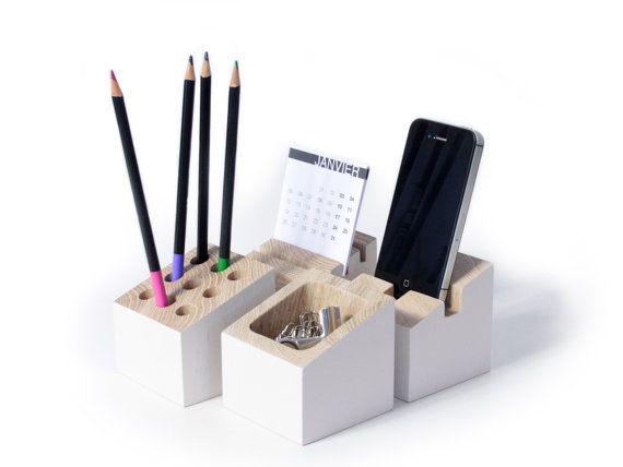 Office organizer Oak wood Snow white Card by inoowdesign