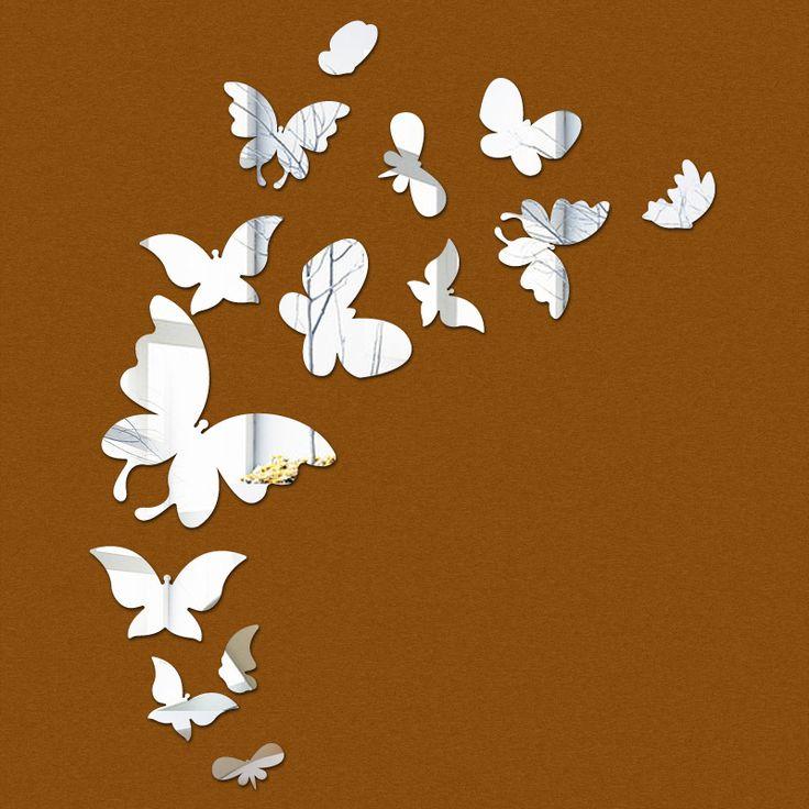 Barato 2016 venda promoção borboleta espelho adesivos de parede sala do miúdo adesivo acrílico 3d decoração da casa decalques diy decoração frete grátis, Compro Qualidade Adesivos de parede diretamente de fornecedores da China: tipo criativo diy tridimensionais adesivos de paredeMaterial espelho acrílico    espessura de 1mm    cor esp