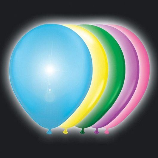 Ballon 12in ass + wit ledlicht 5st - Latexballonnen LED & Neon - Ballonshop - De Feestwinkel