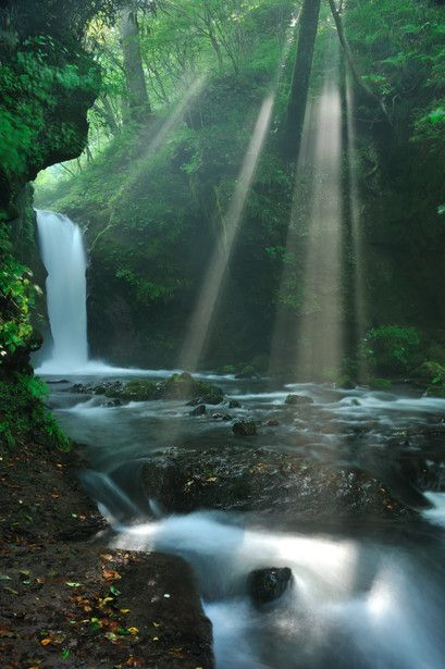 Sunbeams have made me happy since I was a little girl. Ryu-gaeshi Falls in Karuizawa, Japan 竜返しの滝 軽井沢