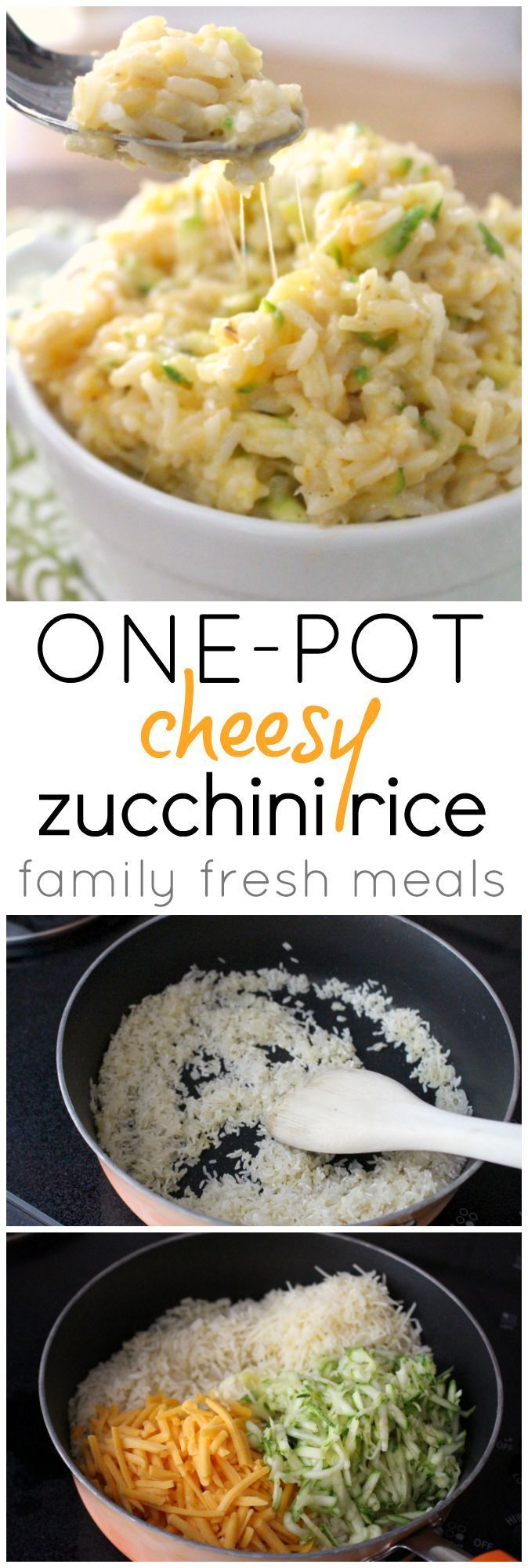 One Pot Cheesy Zucchini Rice - A quick recipe that will be the most favorite side of your family!  #cheesy #zucchini #rice #familyfreshmeals #onepot #easyrecipe