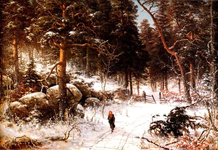 Kuva albumissa HJALMAR MUNSTERHJELM - Google Kuvat.  Talvimaisema Tuuloksesta 1874.  RETRETTI -90, yksityiskokoelma, Foto: Marjukka Vainio, iso kortti.