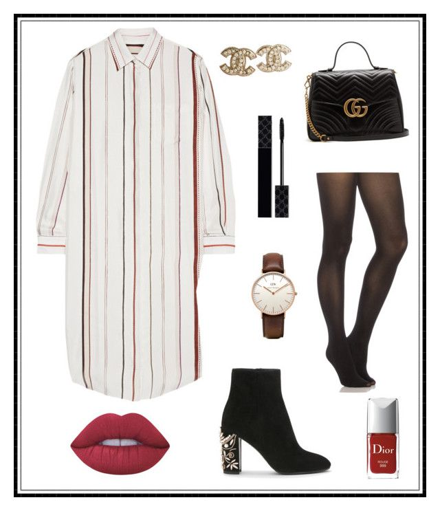 """#167"" by e-elmedal on Polyvore featuring Maison Margiela, SPANX, Gucci, Daniel Wellington, Chanel, Christian Dior and Lime Crime"