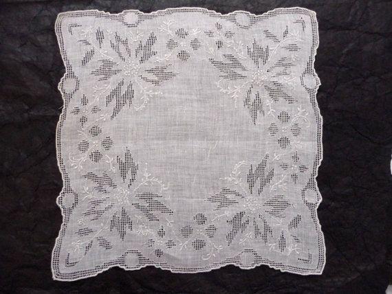 Vintage New White Linen Lace Handkerchief