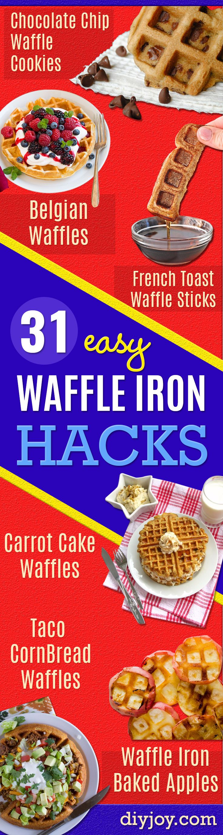 Waffle Iron Hacks and Easy Recipes for Waffle Irons - Quick Ways to Make Healthy Meals in a Waffle Maker - Breakfast, Dinner, Lunch, Dessert and Snack Ideas - Homemade Pizza, Cinnamon Rolls, Egg, Low Carb, Sandwich, Bisquick, Savory Recipes and Biscuits http://diyjoy.com/waffle-iron-hacks-recipes