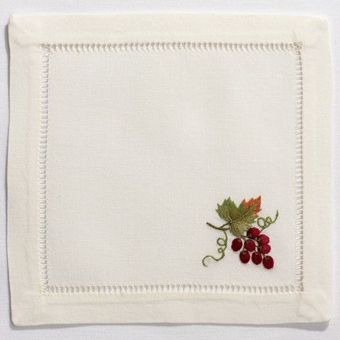 Grapes BurgundyCocktail Set - Ivory Cotton – Henry Handwork