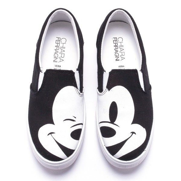"Icon meets icon. The ""Flirting"" Chiara Ferragni signature affects also Mickey Mouse look on these black printed canvas slip-ons. They come with white leather l…"