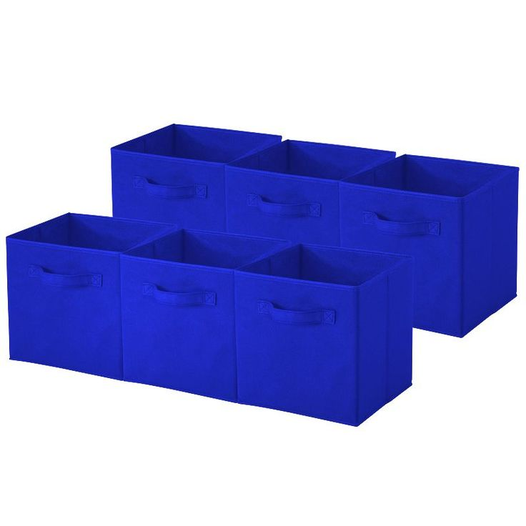 Collapsible Storage Cube; Pack of 6 (Royal Blue Collapsible Storage Cubes) (Fabric)