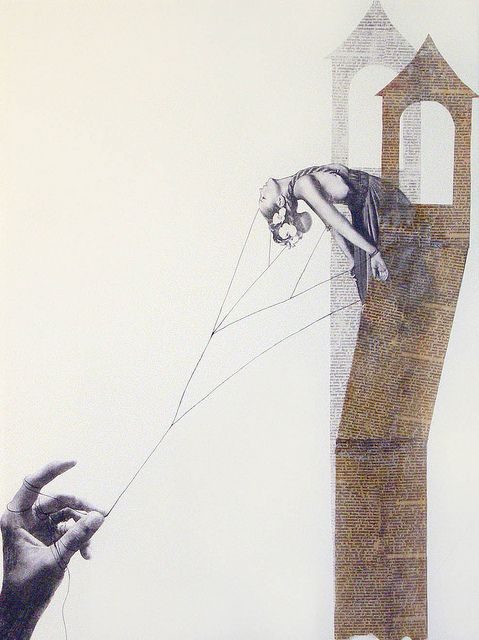 """Simbah Pilé, """"Bring a Skein of Silk and I Will Make a Ladder,"""" mixed media on paper, 2009."""