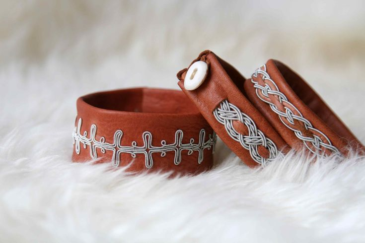 Sami bracelets made of reindeer leather, antler and tin-silver wire