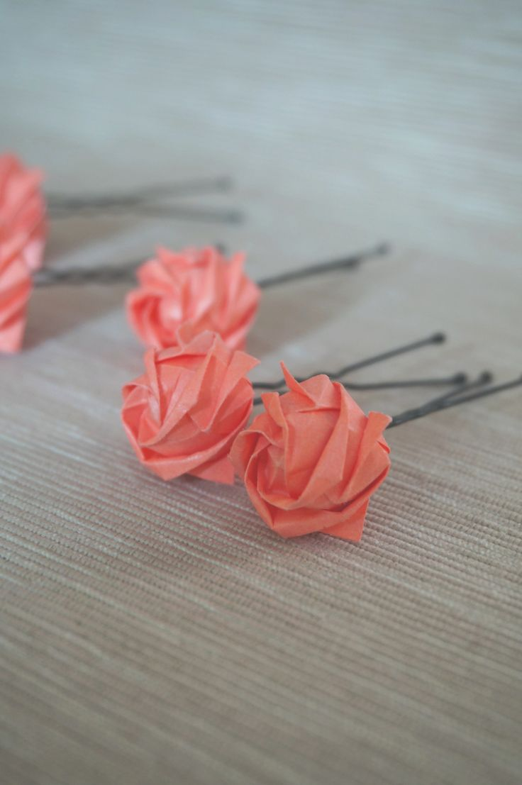 Origami Kawasaki rose as a hairpin