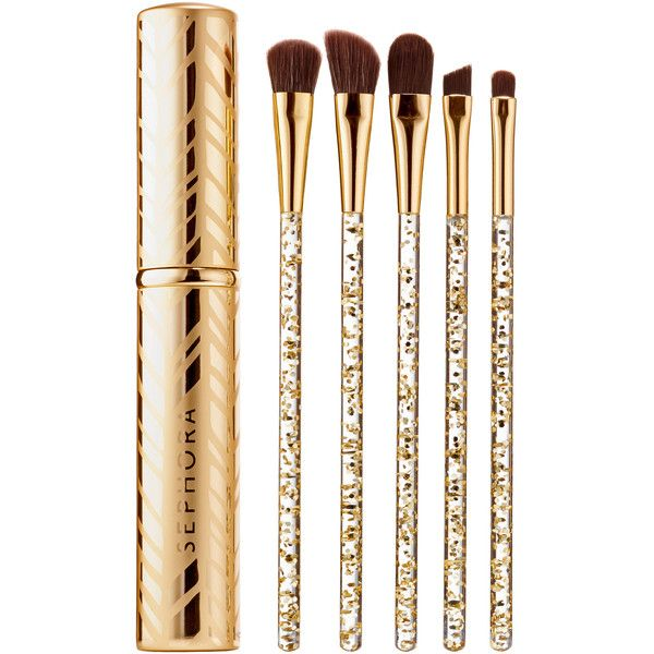 SEPHORA COLLECTION Glimmer In Her Eye Eye Brush Set Eye ($22) ❤ liked on Polyvore featuring beauty products, makeup, makeup tools, makeup brushes, beauty, sephora collection, set of brushes and set of makeup brushes
