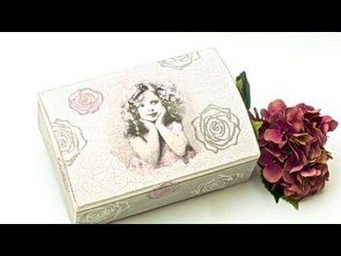 Decoupage krok po kroku - kuferek z dziewczynką i różami - YouTube
