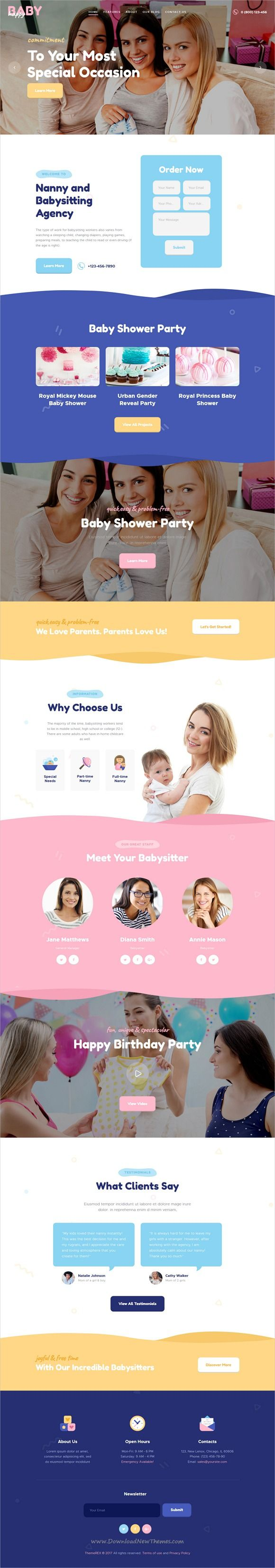 Happy Baby is clean and modern design 2in1 responsive #WordPress theme for stunning #nanny, #babysitter and #babyshower agency website download now..