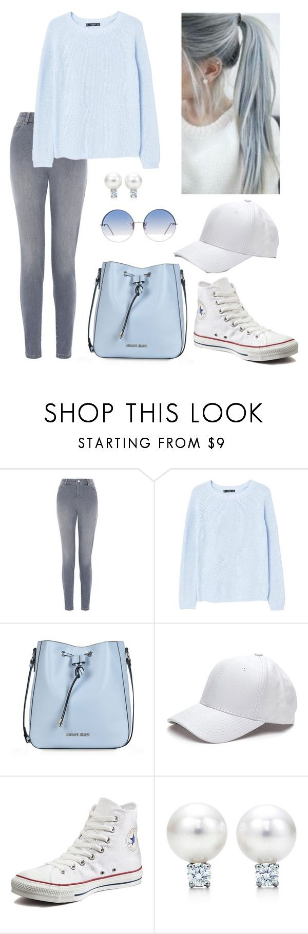 """denim"" by lichuchu ❤ liked on Polyvore featuring beauty, Monsoon, MANGO, Armani Jeans, Converse, Linda Farrow, hairtrend and rainbowhair"