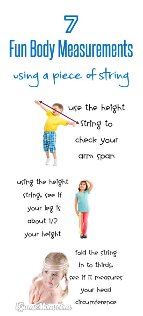 7 Fun Body Measurements for Kids with a piece of string, kids learn interesting body facts, and number concepts. Great non-standard measurement activities for preschool kindergarten to school age kids to learn number comparison concepts.
