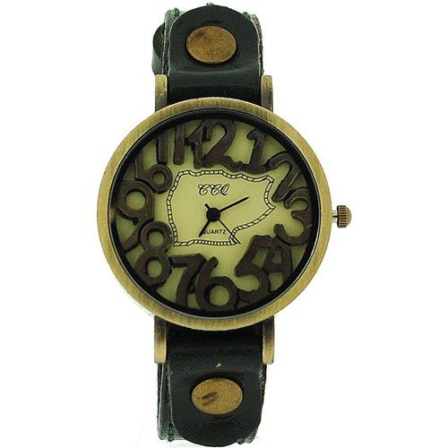 TOC Unisex Oxidised Metal Dancing Numbers Dark Green Strap Watch SW-775