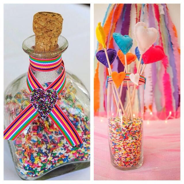 We love sprinkles as easy, fun and cheap decor! Perfect for a bridal shower!
