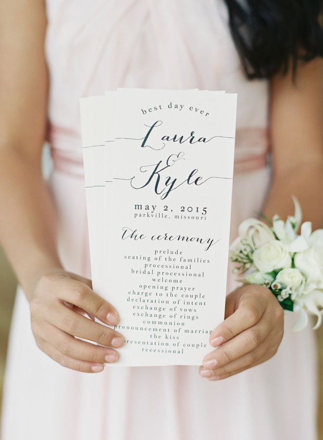 simple wedding programs, an easy DIY on cardstock | whimsical spring wedding perfection. Complete with flower crowns, blush bridesmaids, and a Pronovias gown fit for a princess, there's so many reasons to fall in love, and we invite you to find your mid-week