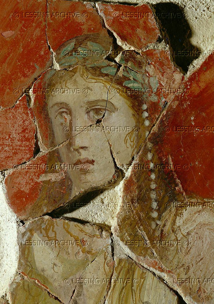 Head of Iphigenie Taurica. Fresco from Magdalensberg, Carinthia, Austria. This capital of Celtic Noricum was a centre of steel and iron trade with Rome and Roman merchants settled there even before all of Noricum became a Roman province in 45 CE.   Landesmuseum fuer Kaernten, Klagenfurt, Austria