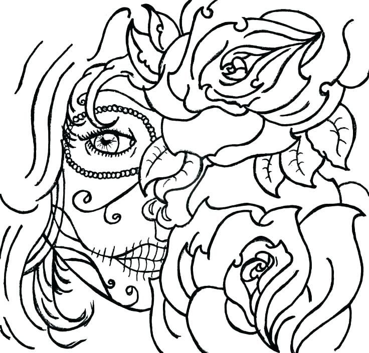 Candy Skull Coloring Pages With Sugar Skulls Coloring Pages Sugar