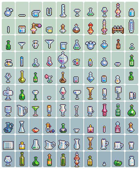 """2 x 100 Pixel Art Pieces: """"Food + Glassware"""" Pixel Artist:neorice Source: deviantart.com(1)(2)"""
