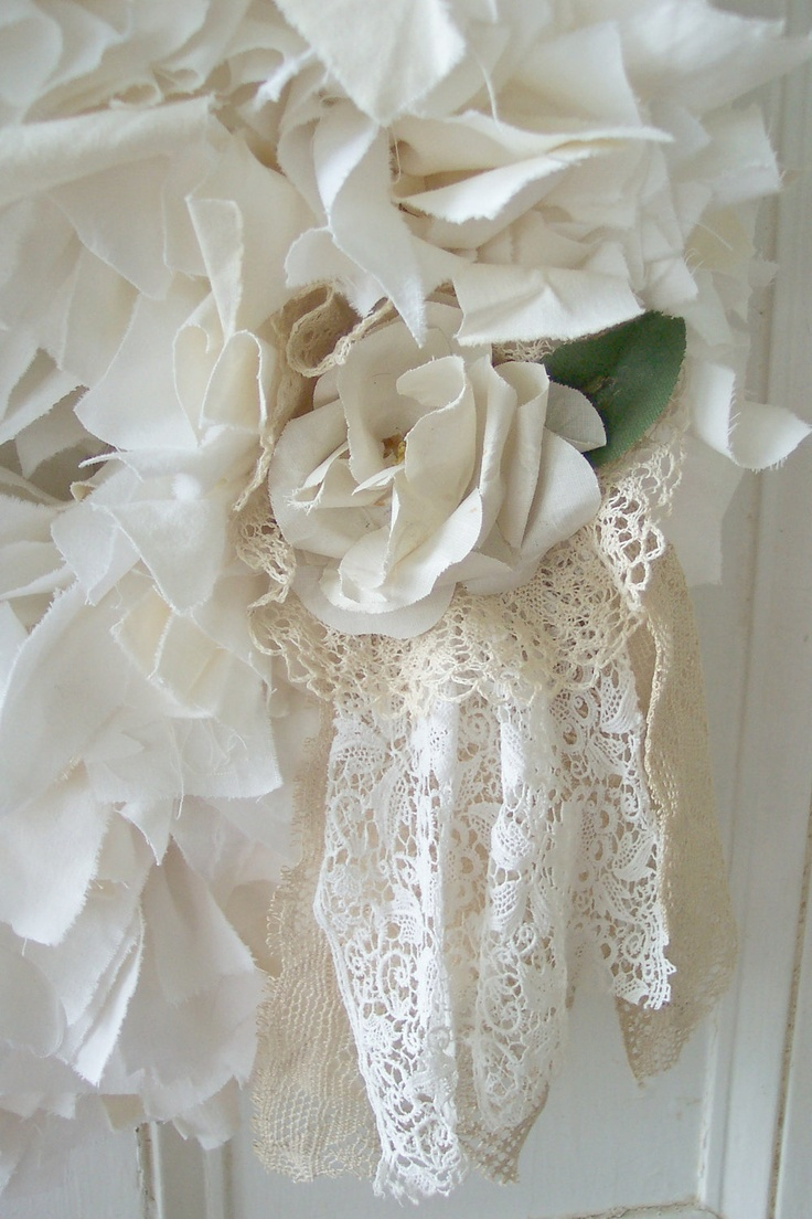 Shades of White Wreath for Wedding or Shabby Chic Home Decor. $80.00, via Etsy.