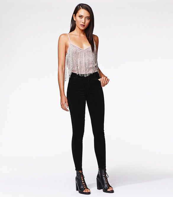 Kendall & Kylie for PacSun Beaded Fringe Cami and Velvet High-Rise Skinny Jeans
