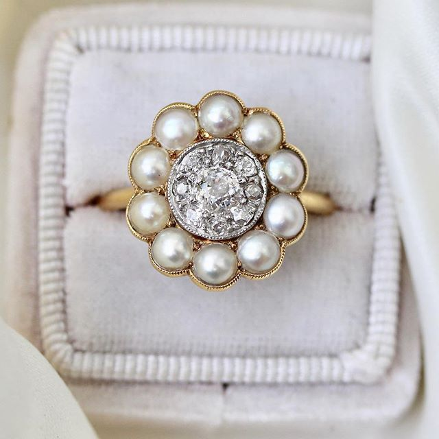 Have you ever seen anything more perfect than the Abigail ring? #diamondsandpearls #vintagering #rockinmybox