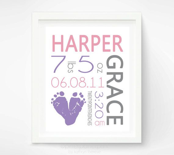 Baby Girl Birth Announcement Wall Art Poster - Baby Footprint Art - Baby Nursery Decor - Personalized New Baby Gift -  Baby Announcement via Etsy